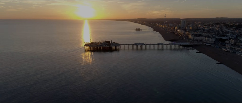 Aerial shot of Brighton's Palace Pier as featured in Dogwood